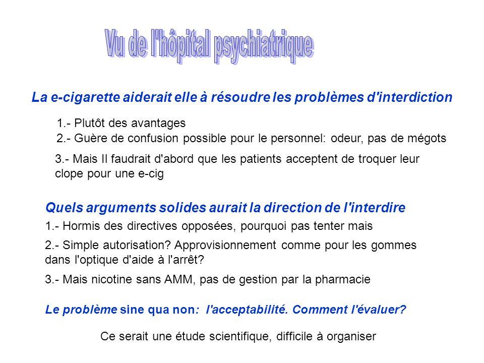 La e-cigarette aiderait elle à résoudre les problèmes d'interdiction Quels arguments solides aurait la direction de l'interdire 1.- Plutôt des avantag