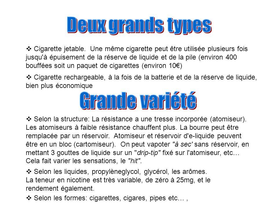 Cigarette jetable. Une même cigarette peut être utilisée plusieurs fois jusqu'à épuisement de la réserve de liquide et de la pile (environ 400 bouffée