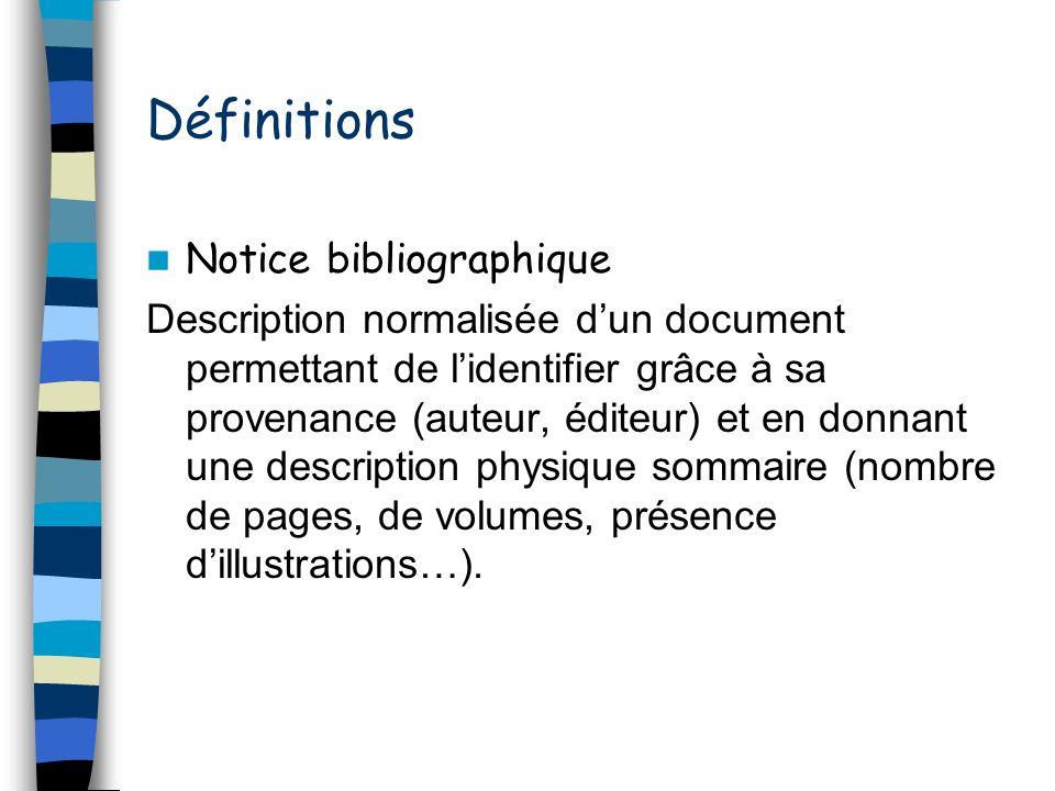 Définitions Notice bibliographique Description normalisée dun document permettant de lidentifier grâce à sa provenance (auteur, éditeur) et en donnant