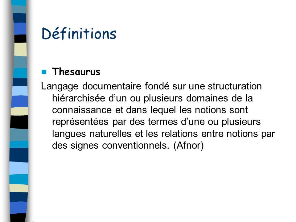 Définitions Thesaurus Langage documentaire fondé sur une structuration hiérarchisée dun ou plusieurs domaines de la connaissance et dans lequel les no