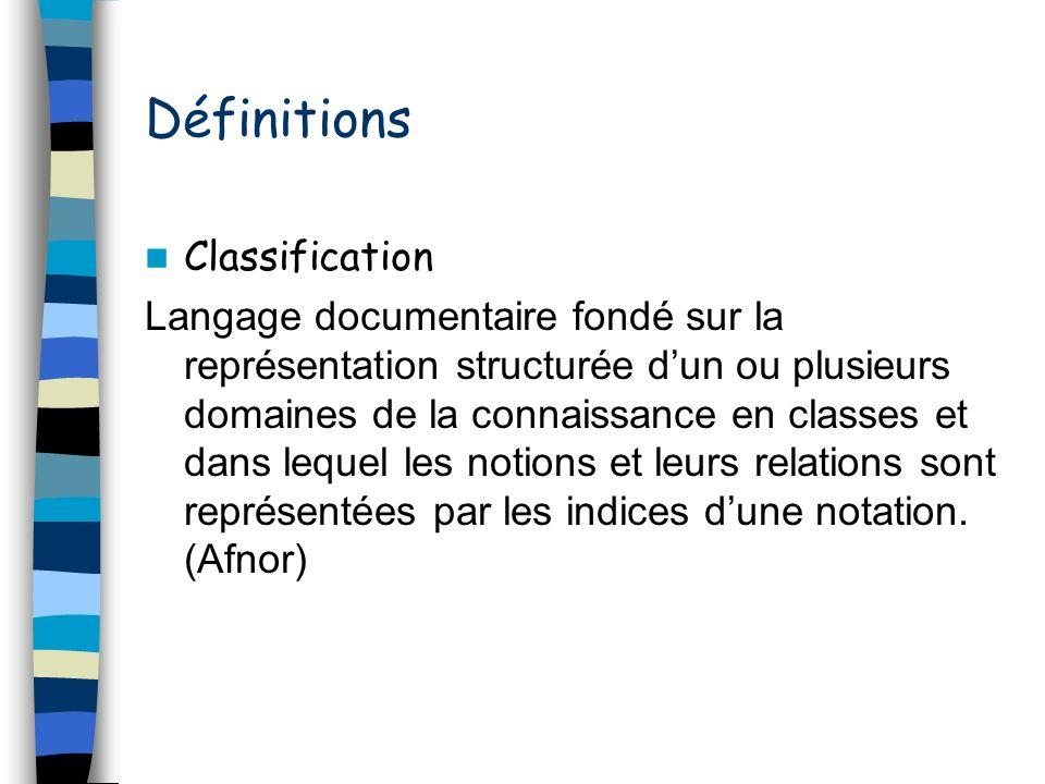Définitions Classification Langage documentaire fondé sur la représentation structurée dun ou plusieurs domaines de la connaissance en classes et dans