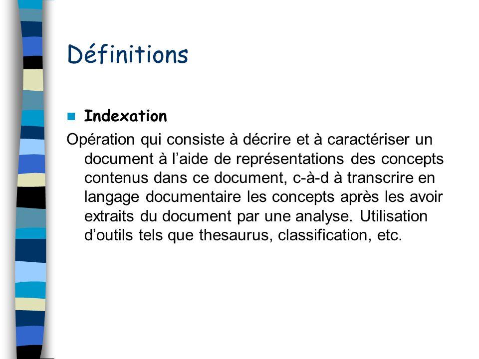 Définitions Indexation Opération qui consiste à décrire et à caractériser un document à laide de représentations des concepts contenus dans ce documen