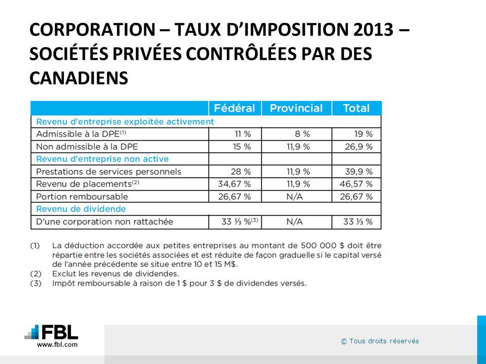 © Tous droits réservés CORPORATION – TAUX DIMPOSITION 2013 – SOCIÉTÉS PRIVÉES CONTRÔLÉES PAR DES CANADIENS www.fbl.com