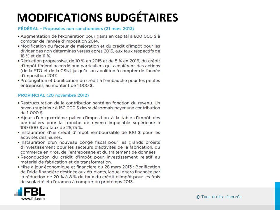 © Tous droits réservés MODIFICATIONS BUDGÉTAIRES www.fbl.com