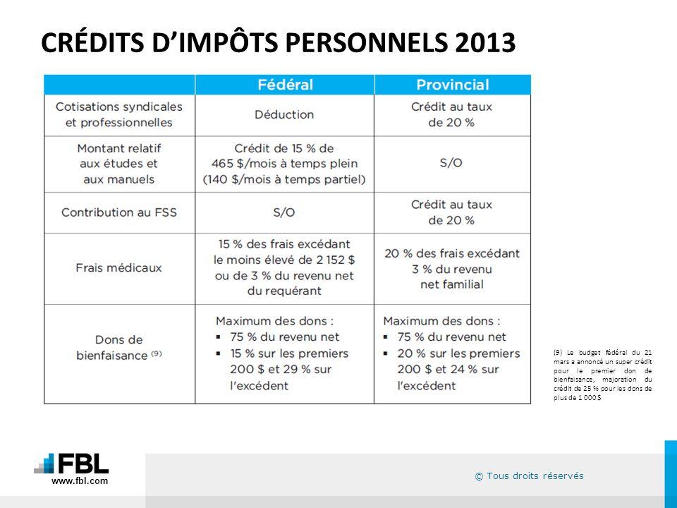 © Tous droits réservés CRÉDITS DIMPÔTS PERSONNELS 2013 (9) Le budget fédéral du 21 mars a annoncé un super crédit pour le premier don de bienfaisance,