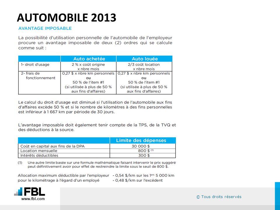 © Tous droits réservés AUTOMOBILE 2013 www.fbl.com