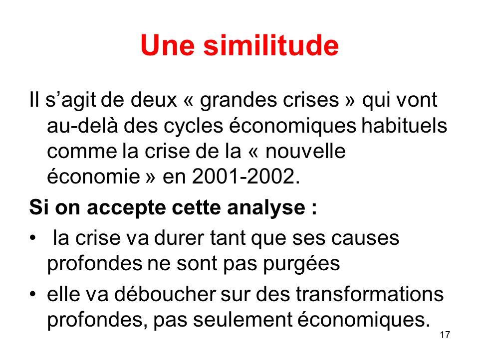 17 Une similitude Il sagit de deux « grandes crises » qui vont au-delà des cycles économiques habituels comme la crise de la « nouvelle économie » en