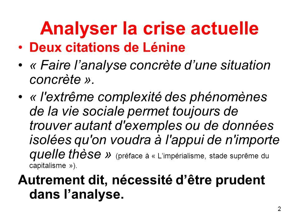2 Analyser la crise actuelle Deux citations de Lénine « Faire lanalyse concrète dune situation concrète ». « l'extrême complexité des phénomènes de la