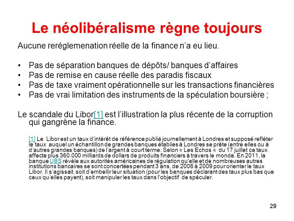 29 Le néolibéralisme règne toujours Aucune reréglemenation réelle de la finance na eu lieu. Pas de séparation banques de dépôts/ banques daffaires Pas
