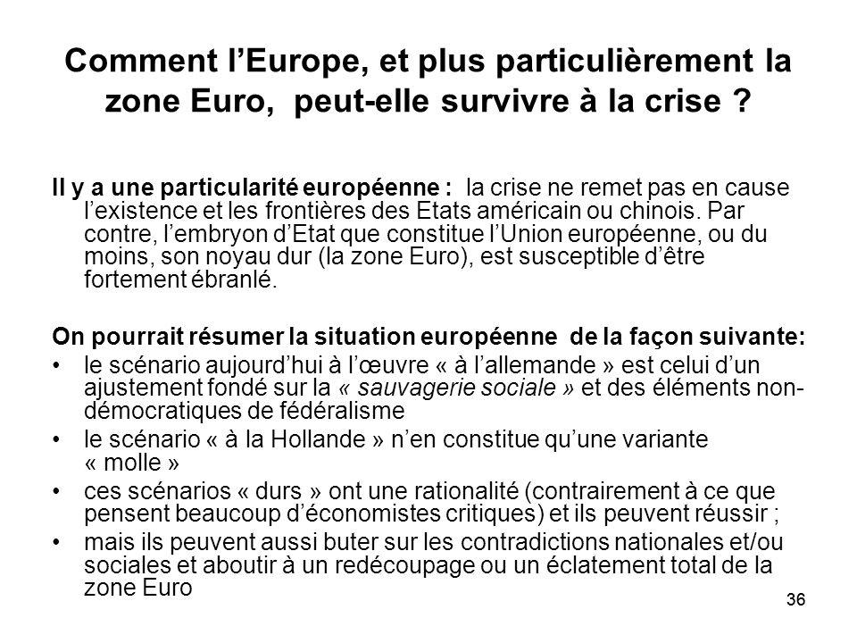 36 Comment lEurope, et plus particulièrement la zone Euro, peut-elle survivre à la crise ? Il y a une particularité européenne : la crise ne remet pas