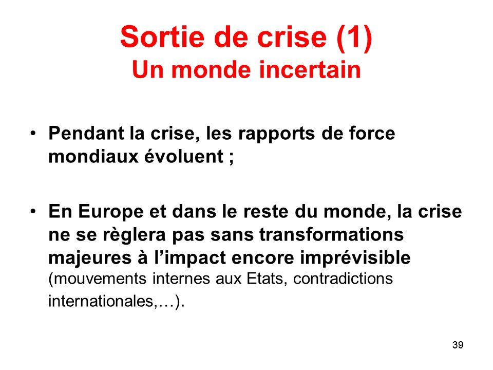 39 Sortie de crise (1) Un monde incertain Pendant la crise, les rapports de force mondiaux évoluent ; En Europe et dans le reste du monde, la crise ne