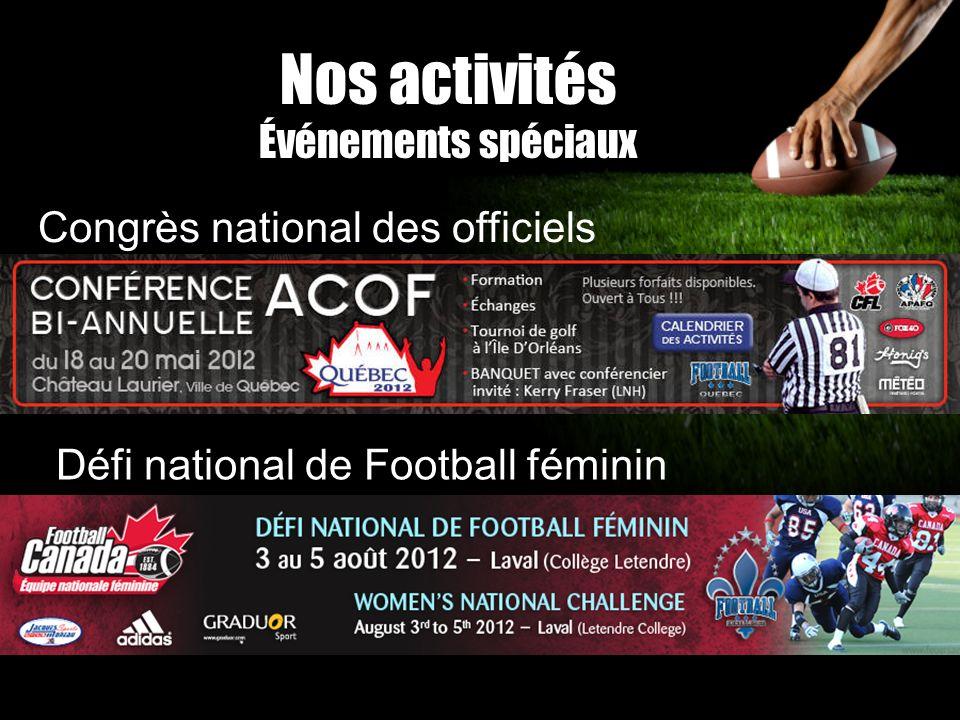 Nos activités Événements spéciaux Congrès national des officiels Défi national de Football féminin