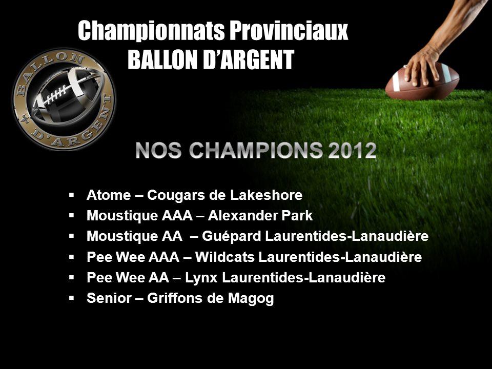 Championnats Provinciaux BALLON DARGENT Atome – Cougars de Lakeshore Moustique AAA – Alexander Park Moustique AA – Guépard Laurentides-Lanaudière Pee