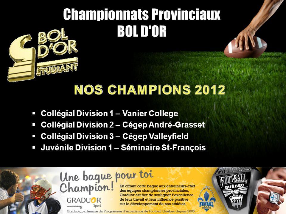 Championnats Provinciaux BOL D'OR Collégial Division 1 – Vanier College Collégial Division 2 – Cégep André-Grasset Collégial Division 3 – Cégep Valley