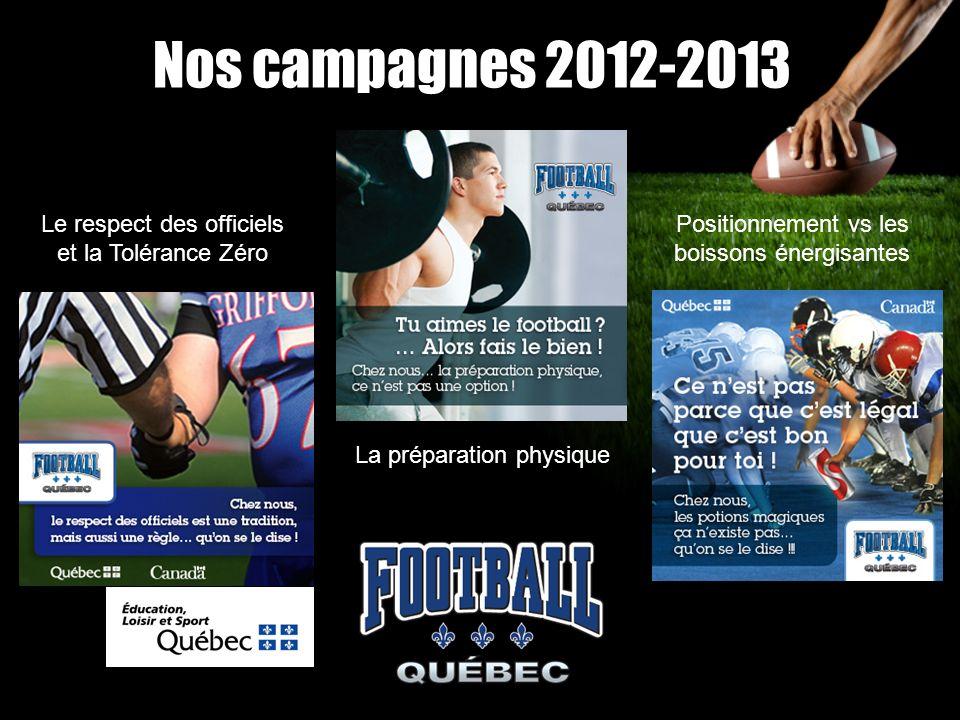 Nos campagnes 2012-2013 Le respect des officiels et la Tolérance Zéro La préparation physique Positionnement vs les boissons énergisantes