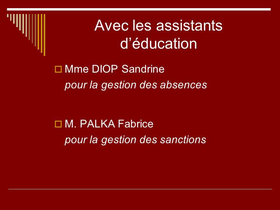 Avec les assistants déducation Mme DIOP Sandrine pour la gestion des absences M. PALKA Fabrice pour la gestion des sanctions