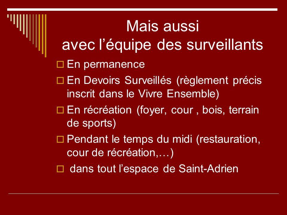 Mais aussi avec léquipe des surveillants En permanence En Devoirs Surveillés (règlement précis inscrit dans le Vivre Ensemble) En récréation (foyer, c