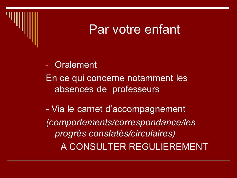 Par votre enfant - Oralement En ce qui concerne notamment les absences de professeurs - Via le carnet daccompagnement (comportements/correspondance/le