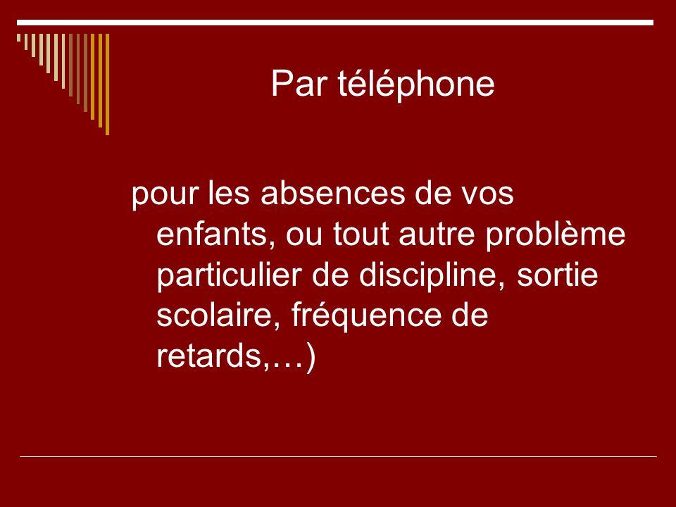 Par téléphone pour les absences de vos enfants, ou tout autre problème particulier de discipline, sortie scolaire, fréquence de retards,…)