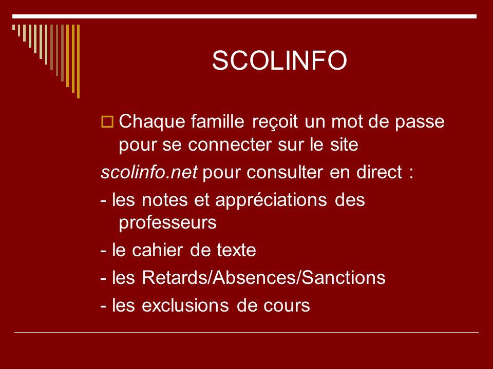 SCOLINFO Chaque famille reçoit un mot de passe pour se connecter sur le site scolinfo.net pour consulter en direct : - les notes et appréciations des