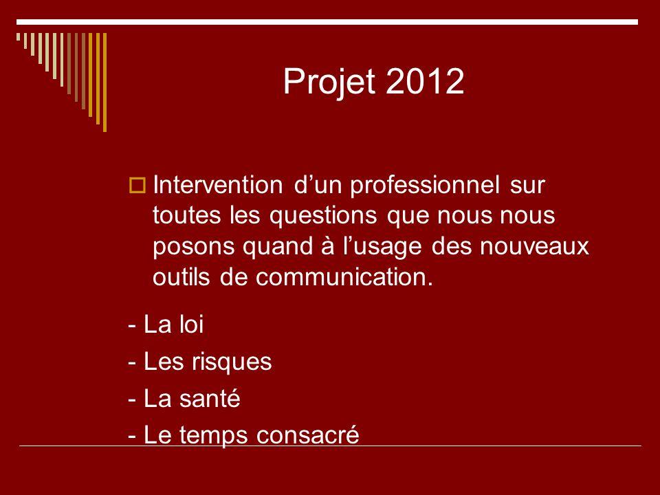 Projet 2012 Intervention dun professionnel sur toutes les questions que nous nous posons quand à lusage des nouveaux outils de communication. - La loi