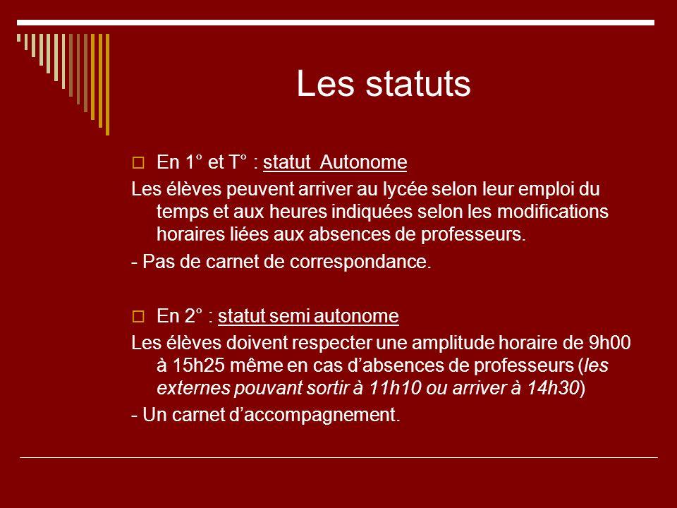 Les statuts En 1° et T° : statut Autonome Les élèves peuvent arriver au lycée selon leur emploi du temps et aux heures indiquées selon les modificatio