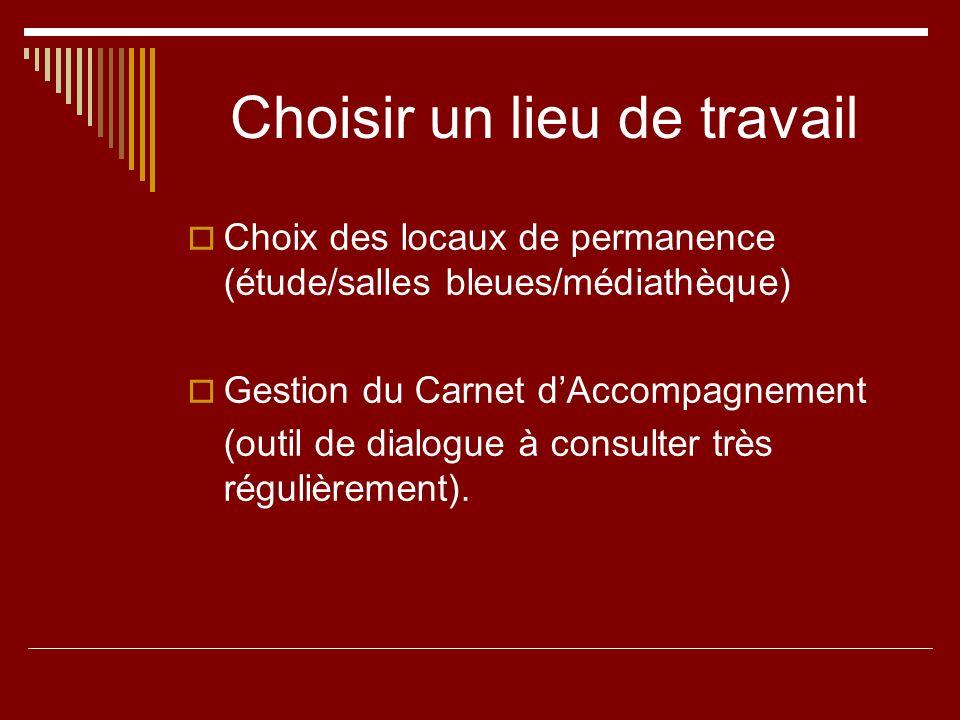 Choisir un lieu de travail Choix des locaux de permanence (étude/salles bleues/médiathèque) Gestion du Carnet dAccompagnement (outil de dialogue à con