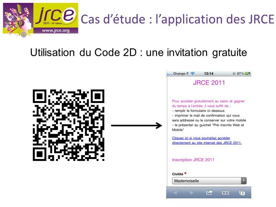 Cas détude : lapplication des JRCE Utilisation du Code 2D : une invitation gratuite