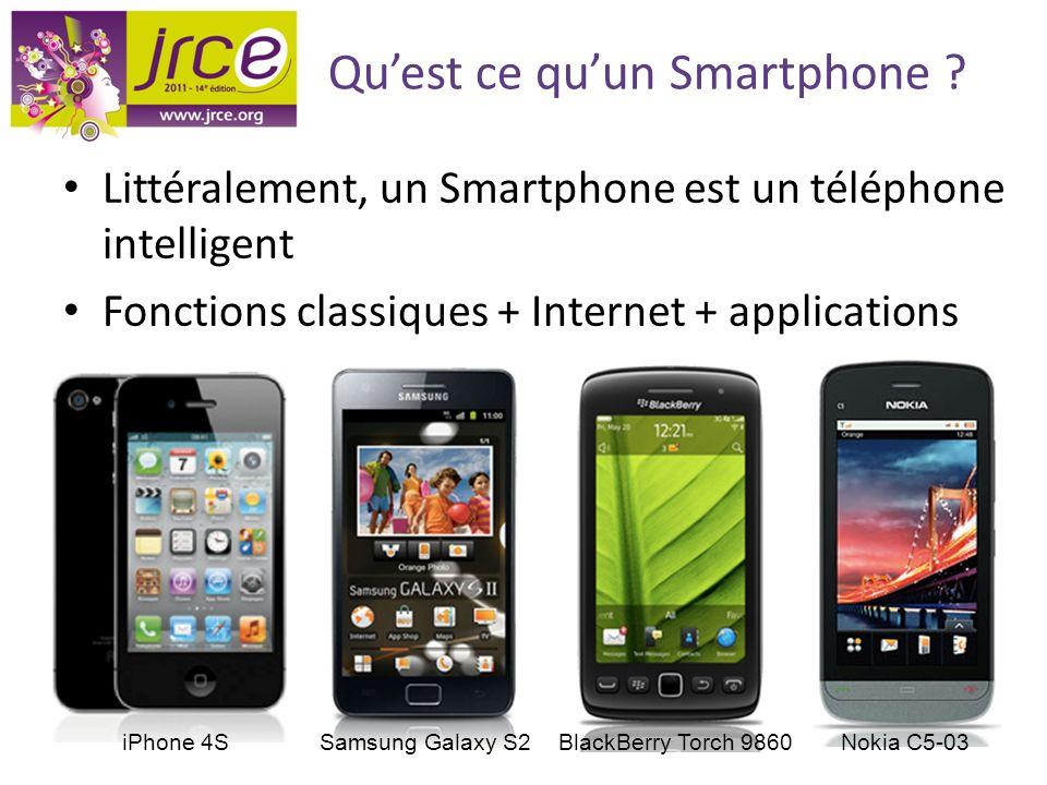 Quest ce quun Smartphone ? Littéralement, un Smartphone est un téléphone intelligent Fonctions classiques + Internet + applications iPhone 4SSamsung G