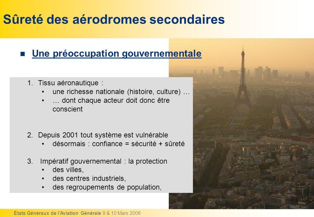 États Généraux de lAviation Générale 9 & 10 Mars 2006 Sûreté des aérodromes secondaires Une préoccupation gouvernementale 1.Tissu aéronautique : une r