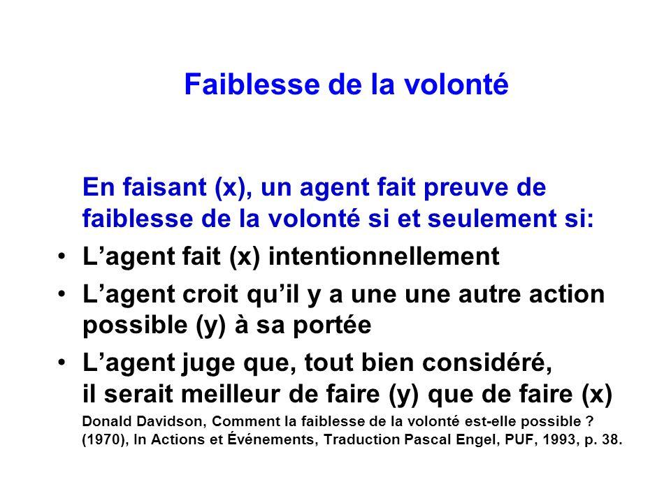 Faiblesse de la volonté En faisant (x), un agent fait preuve de faiblesse de la volonté si et seulement si: Lagent fait (x) intentionnellement Lagent