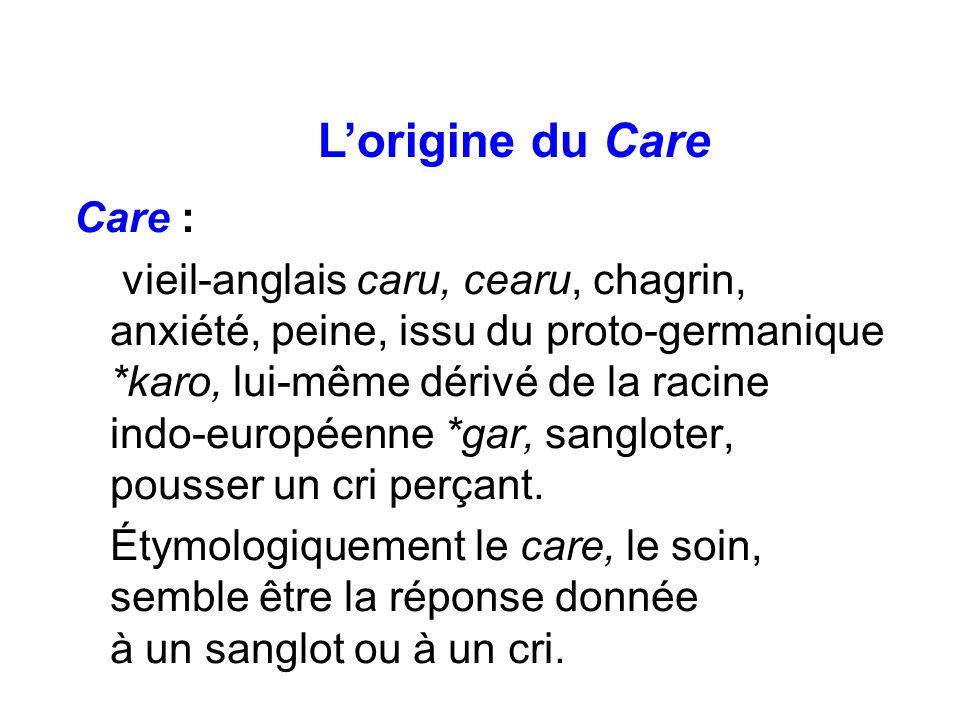 Care : vieil-anglais caru, cearu, chagrin, anxiété, peine, issu du proto-germanique *karo, lui-même dérivé de la racine indo-européenne *gar, sanglote