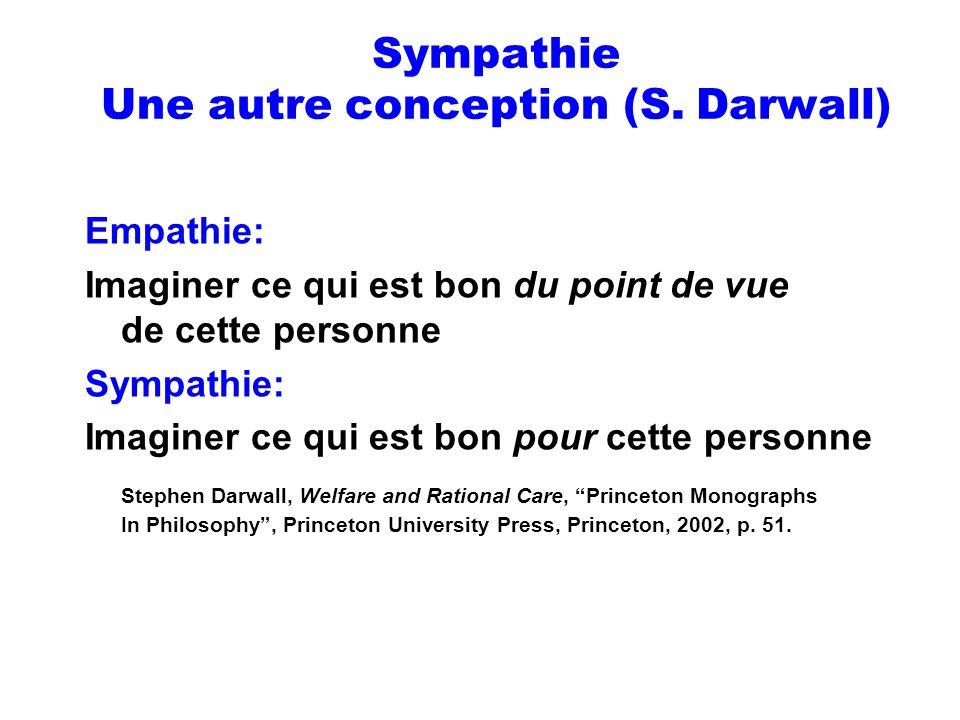 Sympathie Une autre conception (S. Darwall) Empathie: Imaginer ce qui est bon du point de vue de cette personne Sympathie: Imaginer ce qui est bon pou