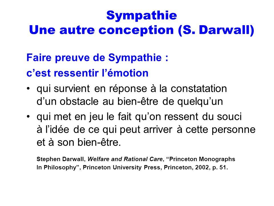 Sympathie Une autre conception (S. Darwall) Faire preuve de Sympathie : cest ressentir lémotion qui survient en réponse à la constatation dun obstacle