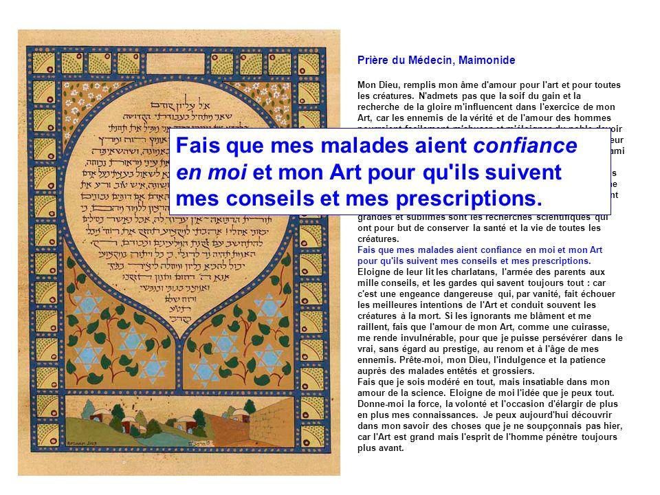 Prière du Médecin, Maimonide Mon Dieu, remplis mon âme d'amour pour l'art et pour toutes les créatures. N'admets pas que la soif du gain et la recherc