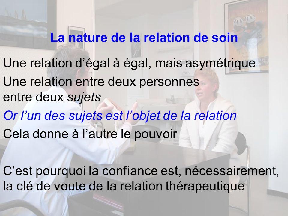 La nature de la relation de soin Une relation dégal à égal, mais asymétrique Une relation entre deux personnes entre deux sujets Or lun des sujets est