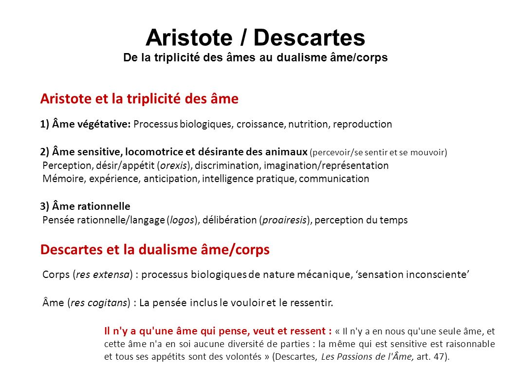 Aristote / Descartes De la triplicité des âmes au dualisme âme/corps Aristote et la triplicité des âme 1) Âme végétative: Processus biologiques, crois