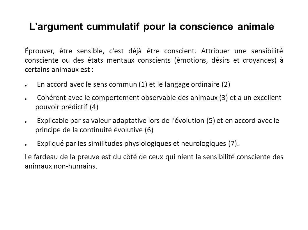 L'argument cummulatif pour la conscience animale Éprouver, être sensible, c'est déjà être conscient. Attribuer une sensibilité consciente ou des états