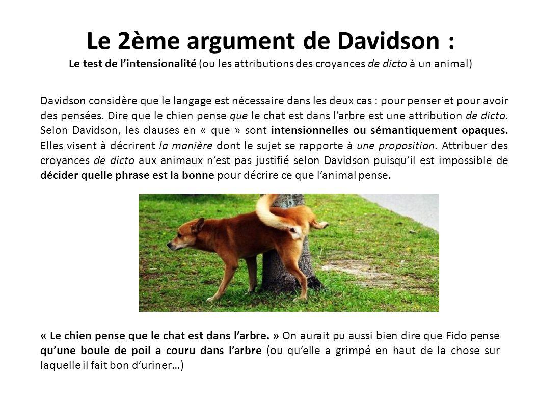 Le 2ème argument de Davidson : Le test de lintensionalité (ou les attributions des croyances de dicto à un animal) Davidson considère que le langage e