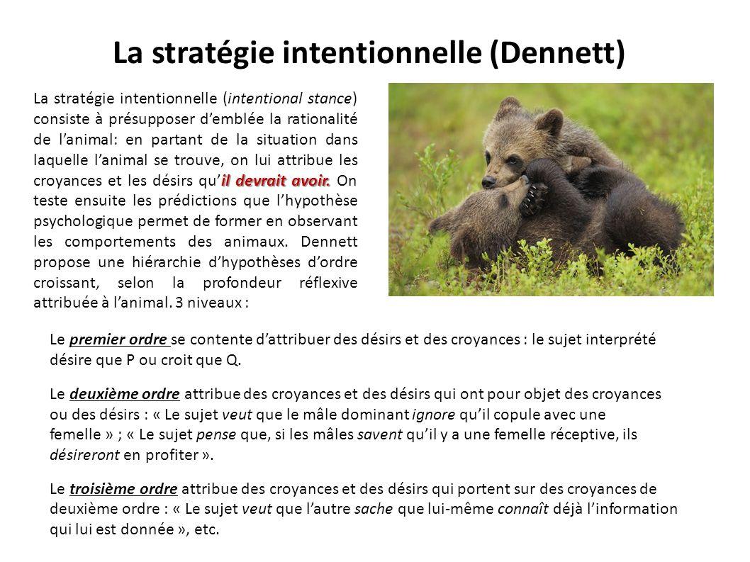La stratégie intentionnelle (Dennett) il devrait avoir. La stratégie intentionnelle (intentional stance) consiste à présupposer demblée la rationalité