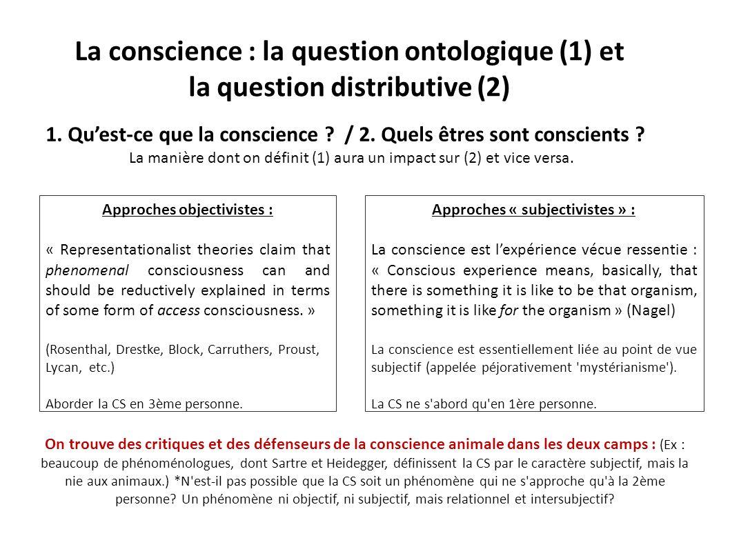 La conscience : la question ontologique (1) et la question distributive (2) 1. Quest-ce que la conscience ? / 2. Quels êtres sont conscients ? La mani