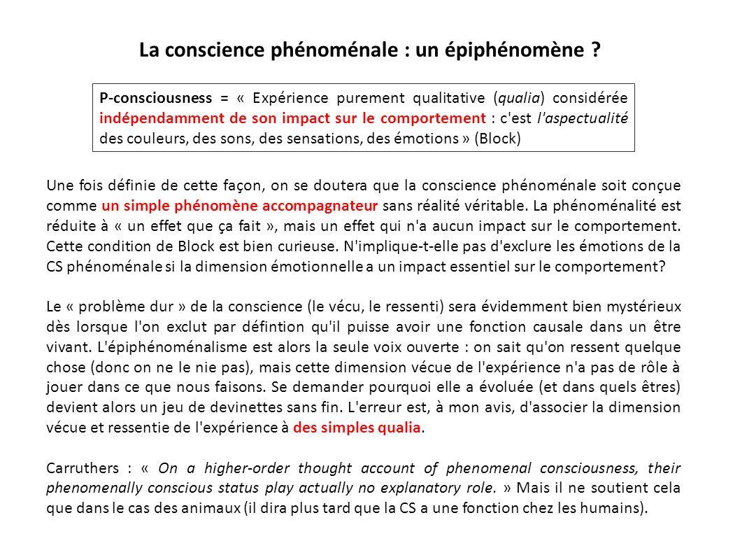 La conscience phénoménale : un épiphénomène ? Une fois définie de cette façon, on se doutera que la conscience phénoménale soit conçue comme un simple