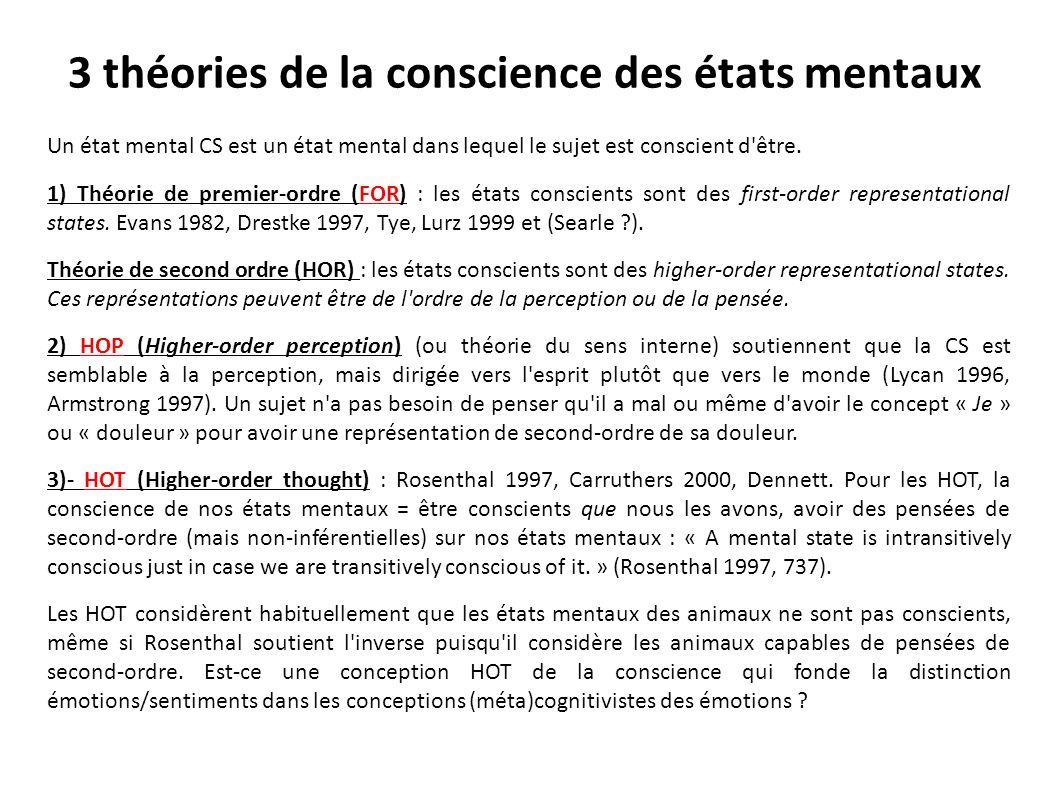 3 théories de la conscience des états mentaux Un état mental CS est un état mental dans lequel le sujet est conscient d'être. 1) Théorie de premier-or