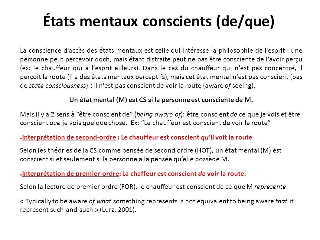 États mentaux conscients (de/que) La conscience d'accès des états mentaux est celle qui intéresse la philosophie de l'esprit : une personne peut perce