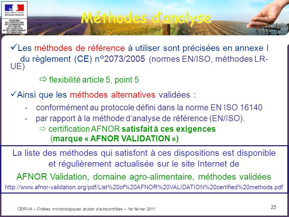 CERVIA – Critères microbiologiques et plan dautocontrôles – 1er février 2011 25 Méthodes danalyse Les méthodes de référence à utiliser sont précisées