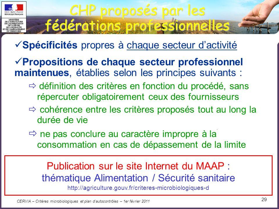 CERVIA – Critères microbiologiques et plan dautocontrôles – 1er février 2011 29. Spécificités propres à chaque secteur dactivité Propositions de chaqu