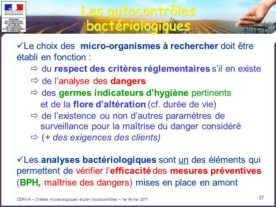 CERVIA – Critères microbiologiques et plan dautocontrôles – 1er février 2011 37 Les autocontrôles bactériologiques Le choix des micro-organismes à rec