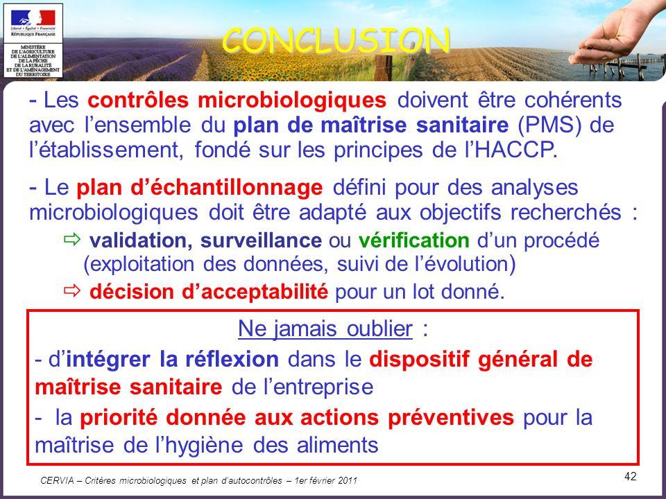CERVIA – Critères microbiologiques et plan dautocontrôles – 1er février 2011 42 CONCLUSION - Les contrôles microbiologiques doivent être cohérents ave