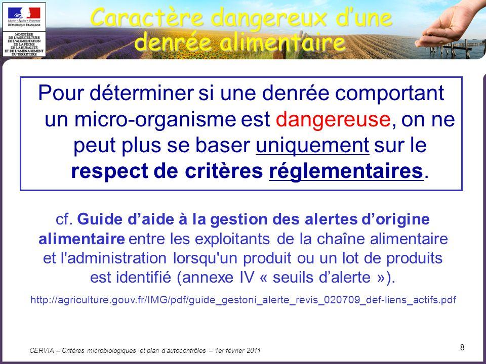 CERVIA – Critères microbiologiques et plan dautocontrôles – 1er février 2011 19 Dispositions particulières essais et échantillonnage (article 5) 1.