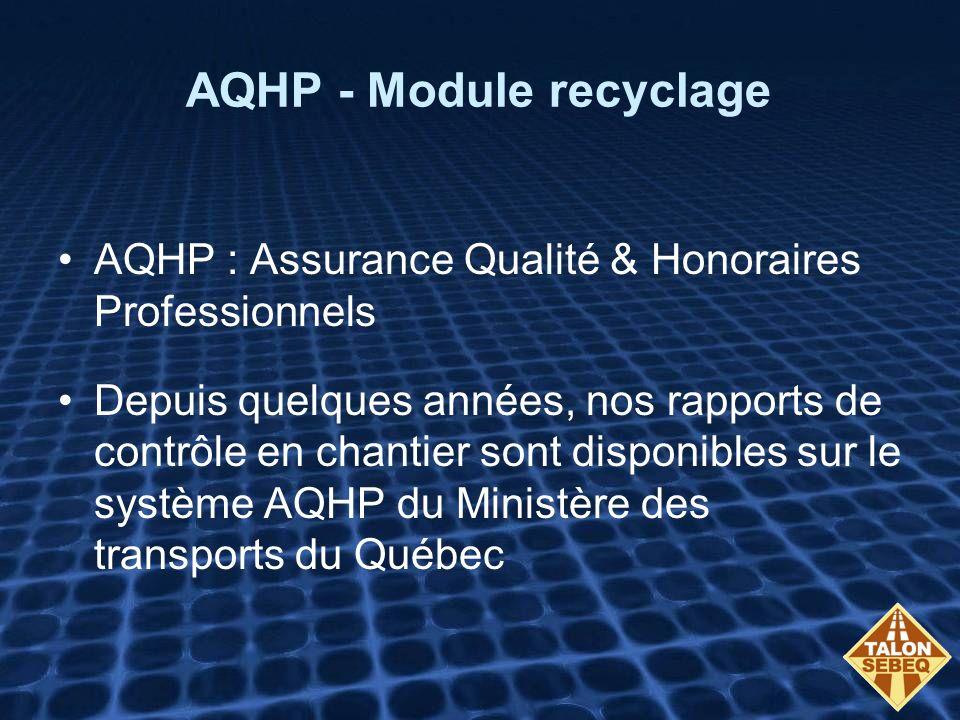 AQHP - Module recyclage AQHP : Assurance Qualité & Honoraires Professionnels Depuis quelques années, nos rapports de contrôle en chantier sont disponibles sur le système AQHP du Ministère des transports du Québec